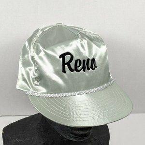 80's Silver Satin Reno Trucker Hat Adjustable